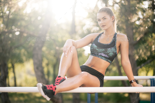Woman resting after workout - Stock Photo - Images