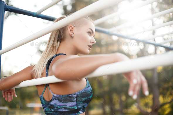 Girl taking a break from her workout. - Stock Photo - Images