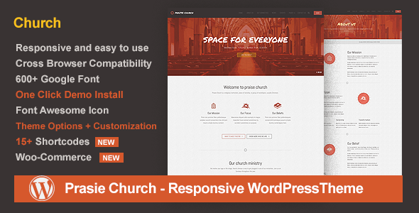 Praise Church - Responsive WordPress Theme - Churches Nonprofit