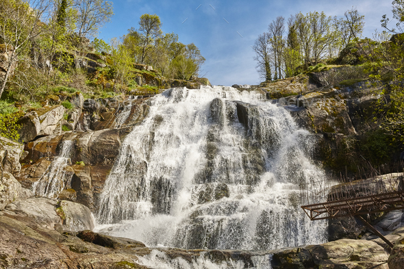 Waterfall in Jerte valley. Caozo area. Caceres, Spain. Horizontal - Stock Photo - Images