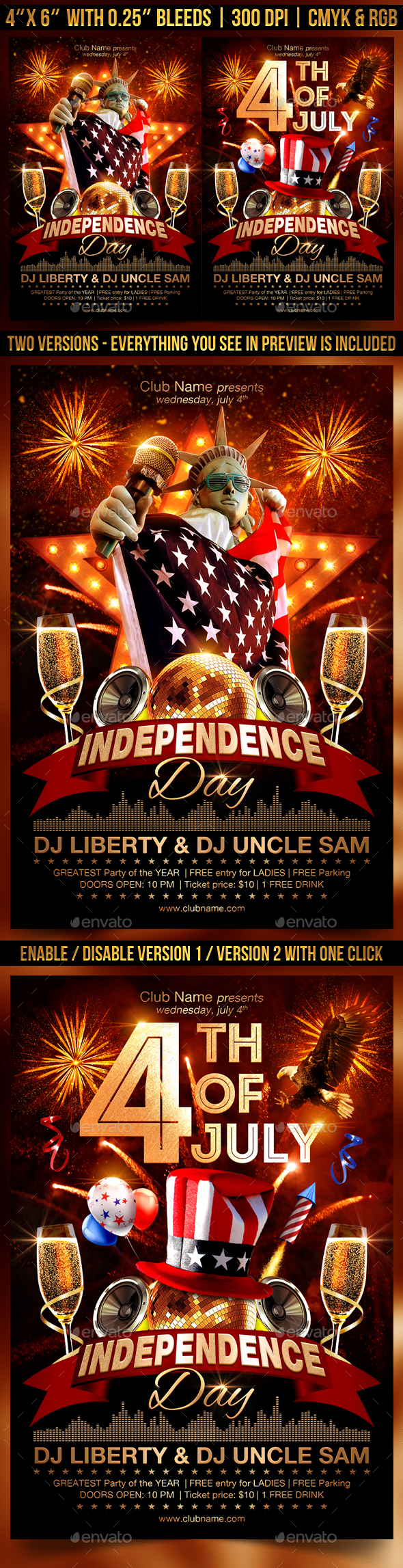 4th Of July Independence Day Flyer Template - Clubs & Parties Events