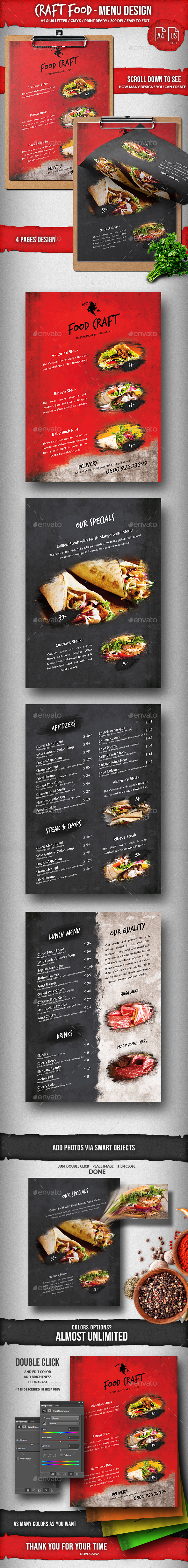Craft Food Single 4 Pages A4 & US Letter Design - Food Menus Print Templates