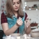 Attractive Young Caucasian Woman Spends Time Behind a Creative Hobby. the Girl Enthusiastically - VideoHive Item for Sale