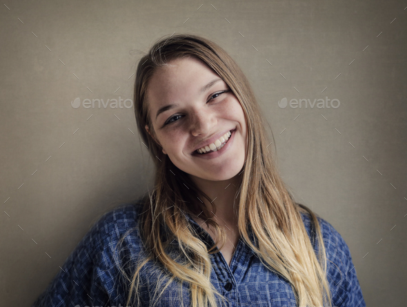 Portrait of a smiling girl - Stock Photo - Images