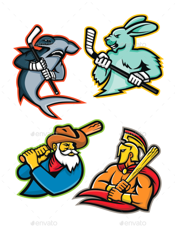 Baseball and Ice Hockey Team Mascots Collection - Sports/Activity Conceptual