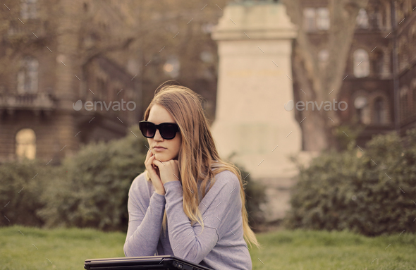 Girl in a park - Stock Photo - Images