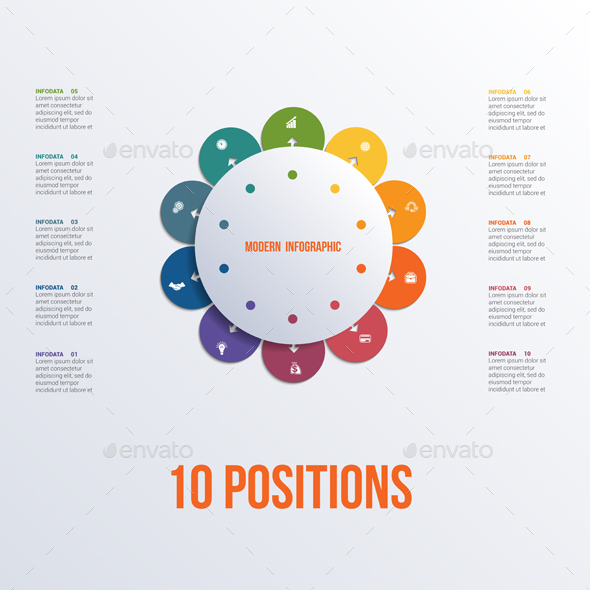Template flower colorful infographics 10 positions - Infographics