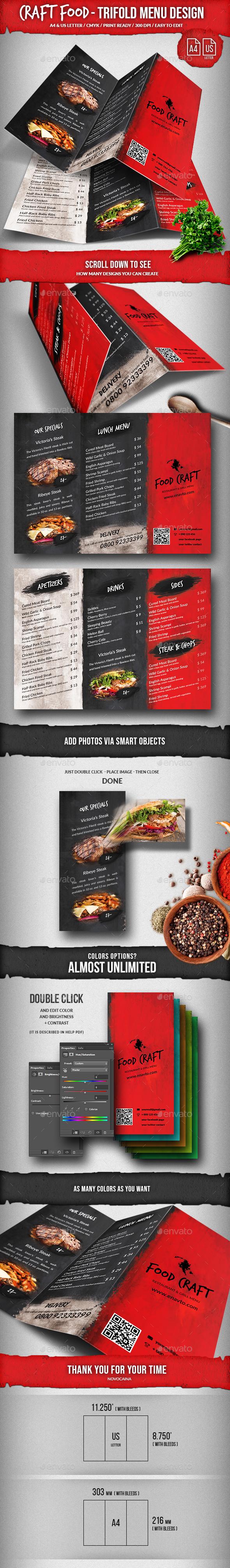 Craft Food Trifold A4 & US Letter Menu Design - Food Menus Print Templates