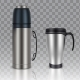 Thermos Thermo Cup Vector Realistic Mockup Set - GraphicRiver Item for Sale