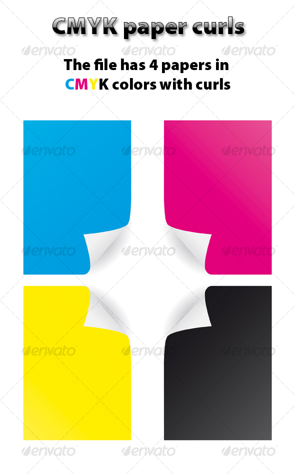 CMYK paper curls - Decorative Vectors