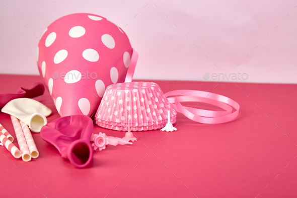 Party pink paper hat. - Stock Photo - Images