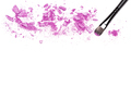 Makeup brush and purple eye shadow on white with space for text - PhotoDune Item for Sale