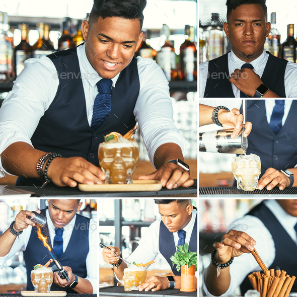 Expert bartender prepares cocktail collage - Stock Photo - Images