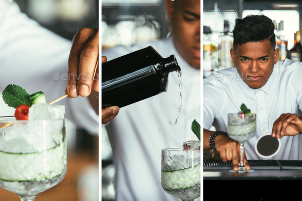 Expert barman prepares cocktail collage - Stock Photo - Images