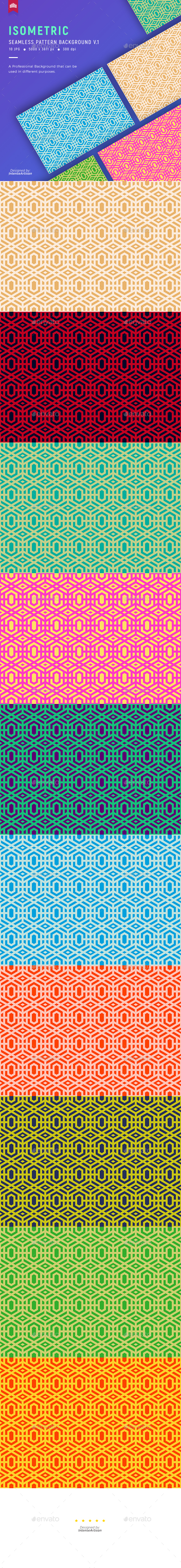 Isometric Seamless Pattern Background V.1 - Patterns Backgrounds