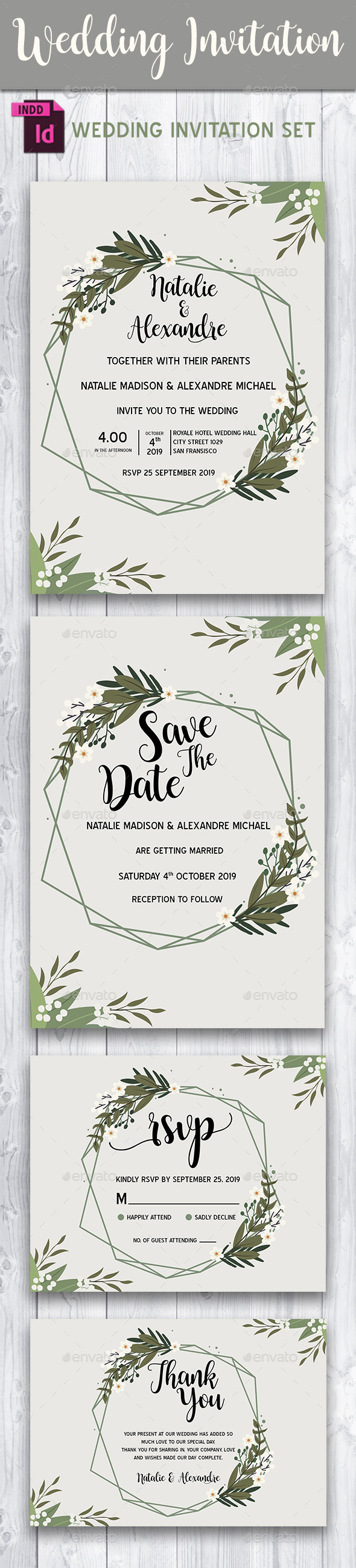 Wedding Invitation Set Template - Vol. 1 - Weddings Cards & Invites