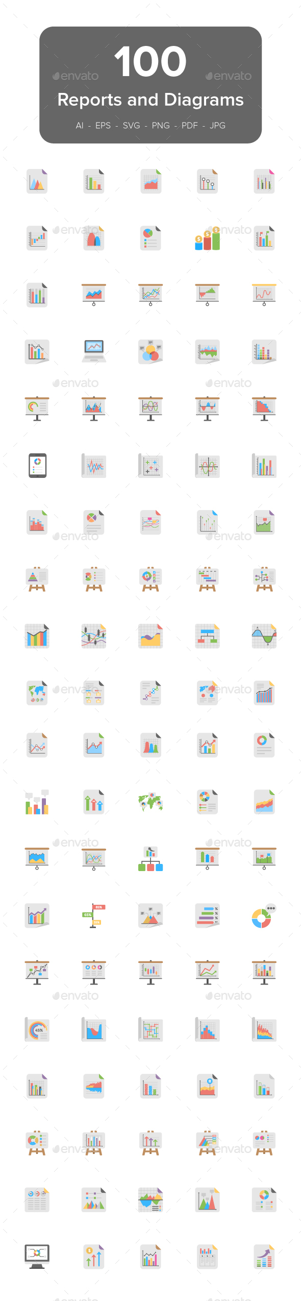 100 Reports and Diagrams Flat Icons - Icons