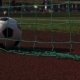 Soccer Ball in Gate on Green Grass Playground - VideoHive Item for Sale