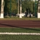 Young Woman Running on Green Grass Playground - VideoHive Item for Sale