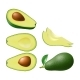 Set of Isolated Colored Avocado Half with Pit - GraphicRiver Item for Sale