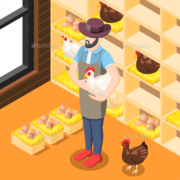 Chicken Coop Isometric Background - Animals Characters