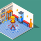 Isometric Museum Hall Composition