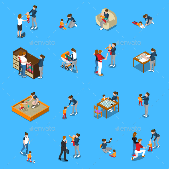Baby Sitter Isometric People - People Characters