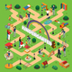 Kindergarten Isometric Flowchart - GraphicRiver Item for Sale