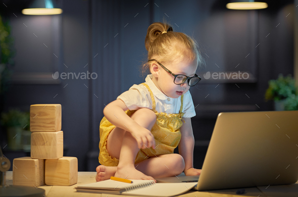 girl working on a computer - Stock Photo - Images