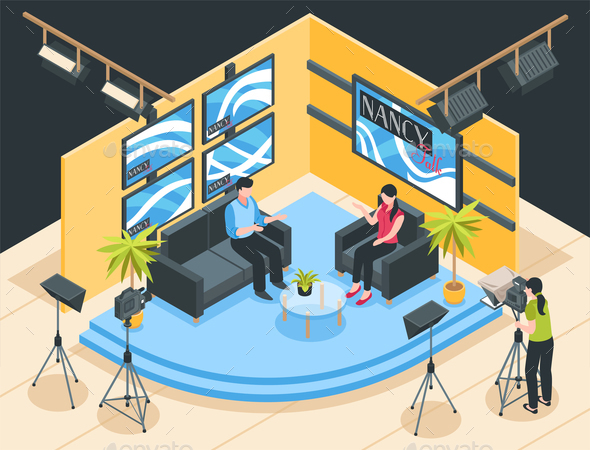 TV Studio Isometric Illustration - People Characters