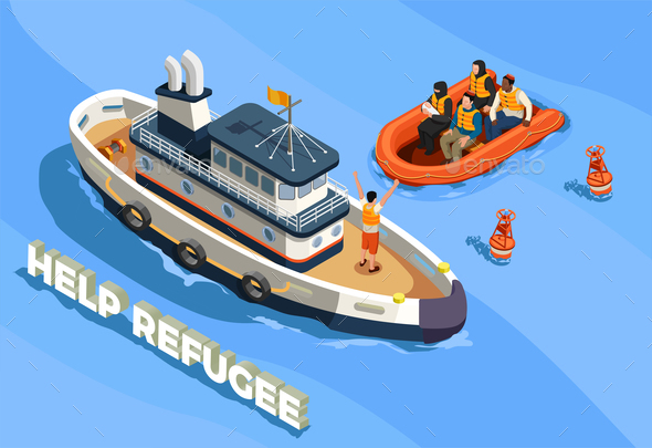 Refugee Boat Isometric Background - People Characters