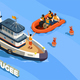 Refugee Boat Isometric Background - GraphicRiver Item for Sale