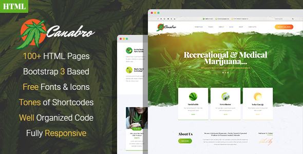 Canabro - Medical Marijuana Dispensary HTML Template - Business Corporate