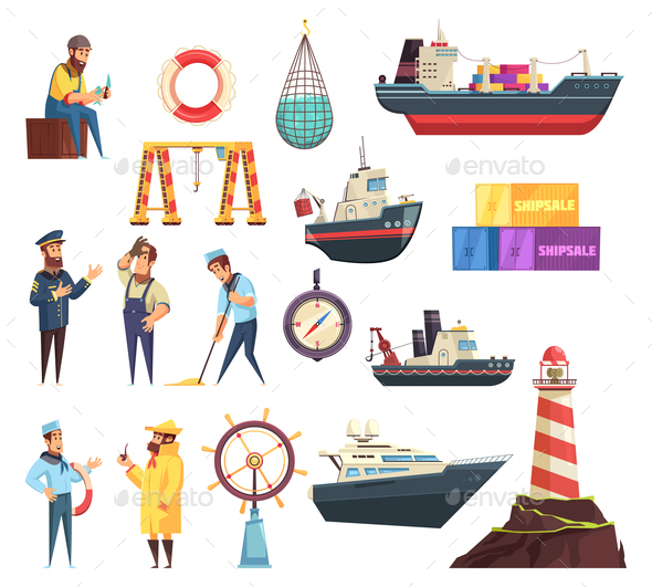 Sailors and Ships Nautical Set - People Characters