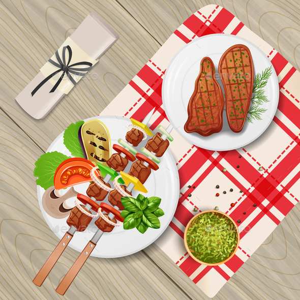 BBQ Realistic Illustration - Food Objects