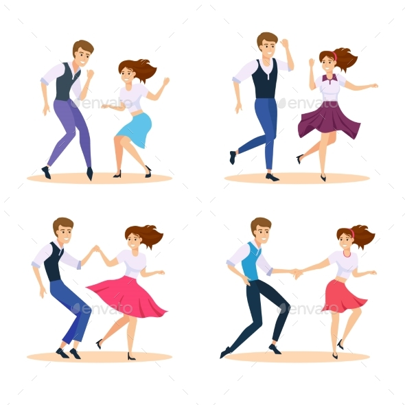 Dancing Couple Vector Illustration Swing Dancers - People Characters