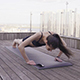 Woman Fitness Push-Ups at Roof Terrace - VideoHive Item for Sale