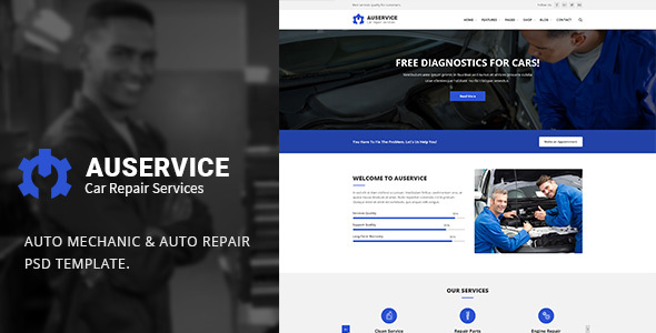 Auservice – Auto Mechanic & Auto Repair PSD Template