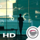 A Successful Businesswoman Against The Backdrop Of A Panoramic Window And Corporate Infographic - VideoHive Item for Sale