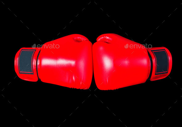 boxing gloves on black background - Stock Photo - Images