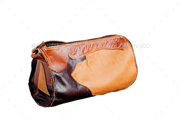 leather bag on white background - Stock Photo - Images