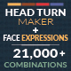 Head Turn Maker with Facial Expressions