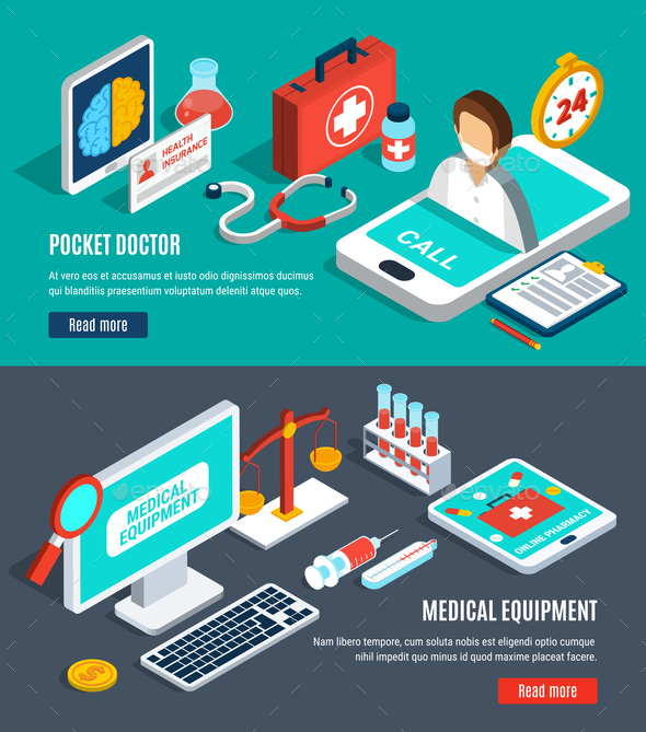 Medical Isometric Banners Set - Health/Medicine Conceptual