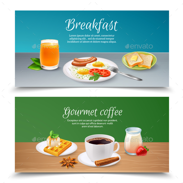 Breakfast Realistic Banners Set - Food Objects