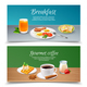 Breakfast Realistic Banners Set