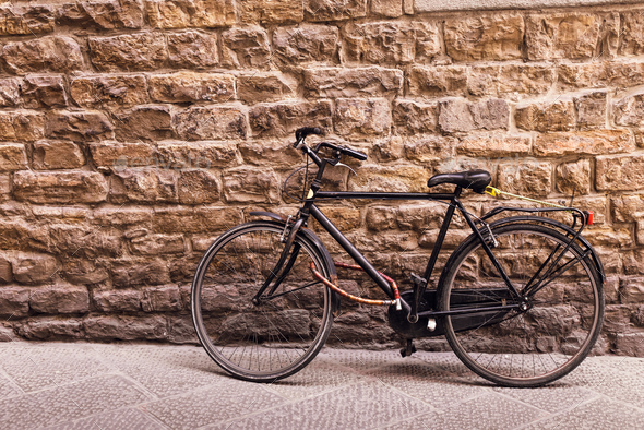 Black old bicycle - Stock Photo - Images