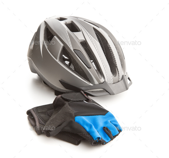 Bicycling helmet and gloves. - Stock Photo - Images