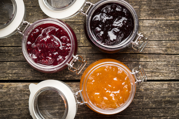 Fruity jam jelly in jar. - Stock Photo - Images