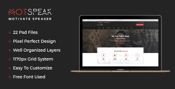 Motspeak – Motivational Speaker & Advisor PSD Template