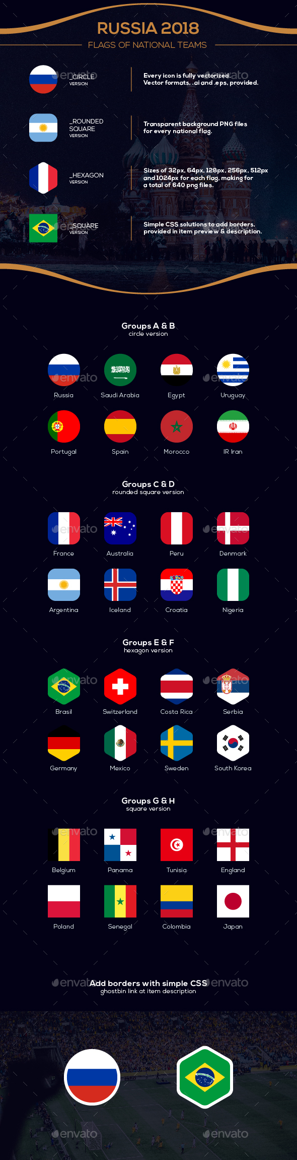World of Football Russia Cup 2018 - Flag Icons - Web Icons